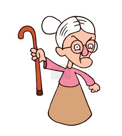 Angry grandmother character