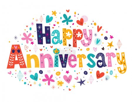 Illustration for Happy Anniversary card. Vector illustration - Royalty Free Image