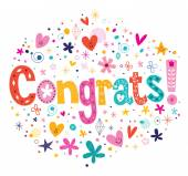 Congrats typography lettering decorative card