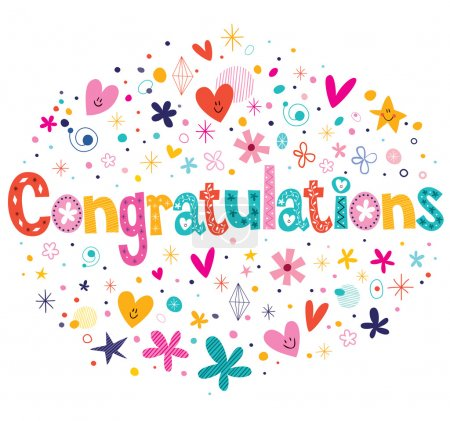 Congratulations typography lettering text card