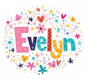 Evelyn female name decorative lettering type design
