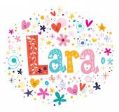 Lara female name design decorative lettering type