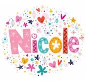 Nicole female name design decorative lettering type