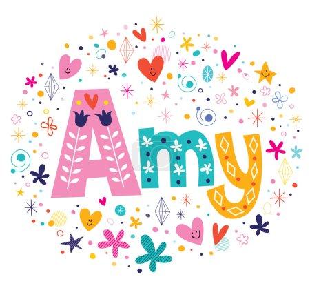 Illustration pour Amy nom féminin design de type lettrage décoratif - image libre de droit