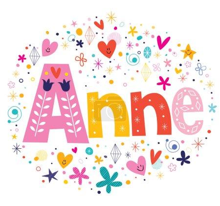 Illustration pour Anne nom féminin lettrage décoratif type design - image libre de droit