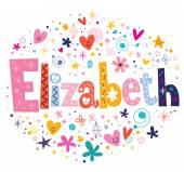 Elizabeth female name decorative lettering type design