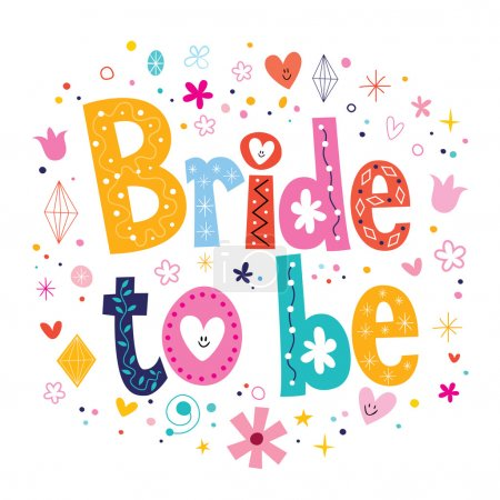 Illustration for Bride to be - decorative type lettering design - Royalty Free Image
