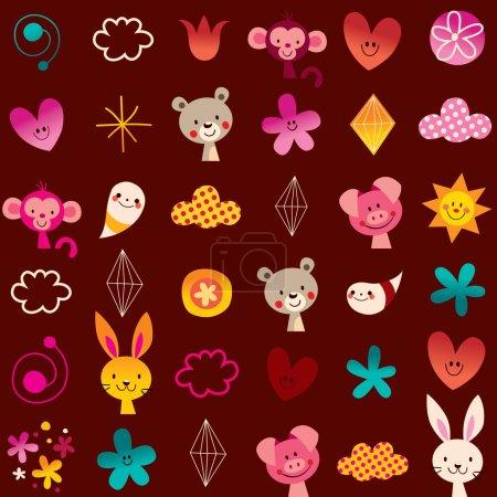 Cute animals kids pattern