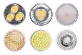 Set of LED light lamps isolated on white background