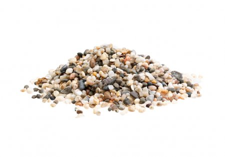 Pile of sand quartz mix with small stones granular isolated on w