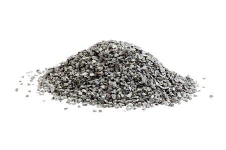 Photo pour Pile de petites pierres de basalte empilées sur du blanc . - image libre de droit