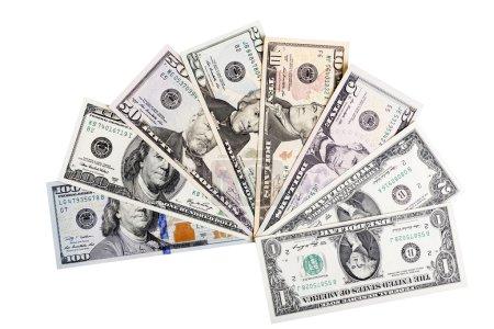 Photo pour Billets de banque des États-Unis d'Amérique - dollars - ona un Monceau. Il sont tous inclus - 100, 50, 20, 10, 2 et un 1 dollar bills dans ce fond argent. - image libre de droit