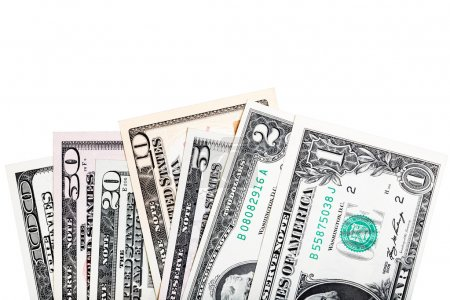 1, 2, 5, 10, 20, 50, 100 -all of U.S. dollar bills, close-up iso