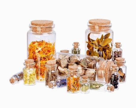 Photo pour Différentes herbes curatives dans des bouteilles en verre pour la médecine à base de plantes isolées sur blanc . - image libre de droit