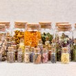 Bottles with herbs used in non- traditional medici...