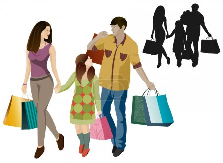 Illustration for Family shopping in vector cartoon  isolated - Royalty Free Image
