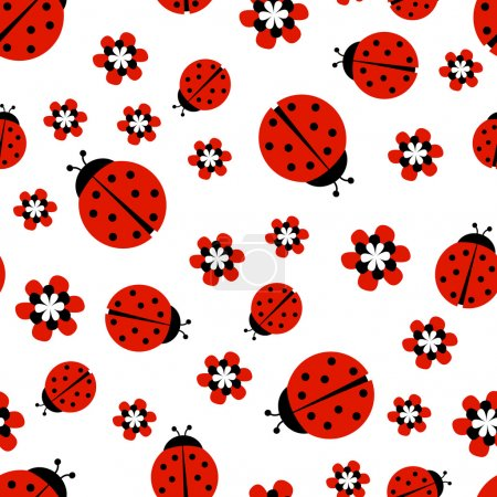 Ladybugs with red flowers