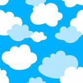 Kid cloud seamless pattern on blue