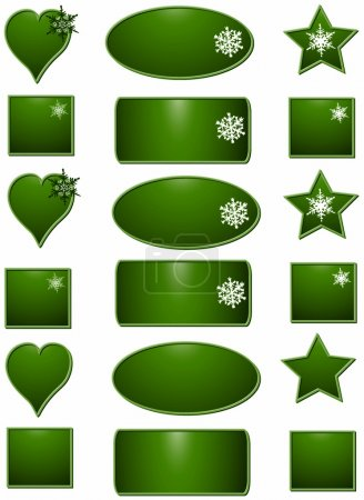 Photo for Blue set Christmas labels buttons, objects white isolated - Royalty Free Image
