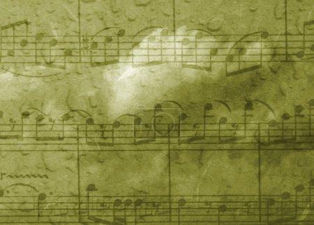 Photo pour Thème musical, fond vert avec texture - image libre de droit