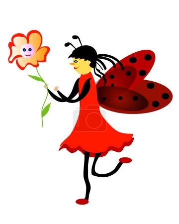 Photo pour Jeune fille rouge coccinelle avec fleur - image libre de droit