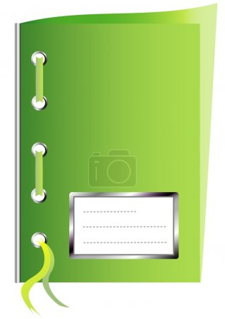 Green paper workbook with space for text