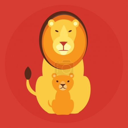Flat lion family