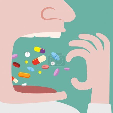 Illustration for Close up of Man Throw a lot of pills in to his mouth - Royalty Free Image