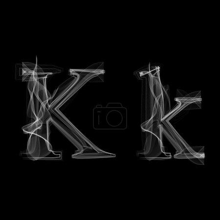 Smoke font. Letter K. Vector illustration alphabet...