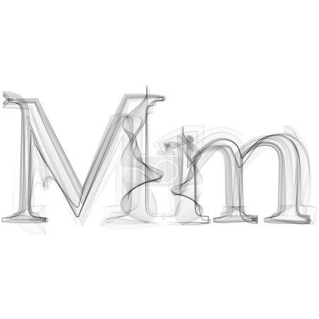 Black Smoke font on white background. Letter M. Ve...