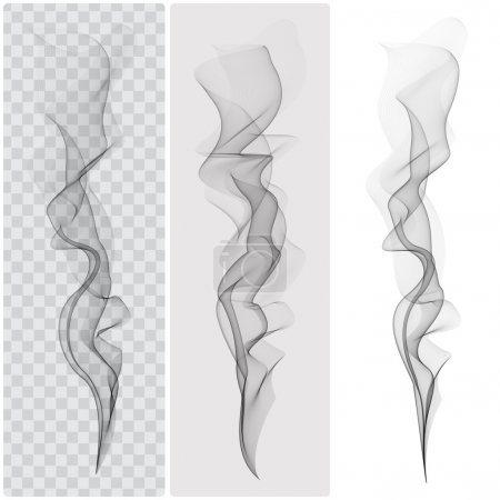 Set of realistic black smoke. Vector