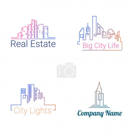 Illustration for City buildings logo colored silhouette icons on white background. Vector - Royalty Free Image