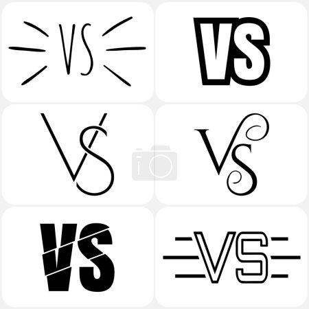 Versus letters logo. Black V and S symbols collection.