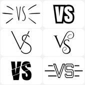 Set of versus letters logo Bkack letters V and S flat style symbol