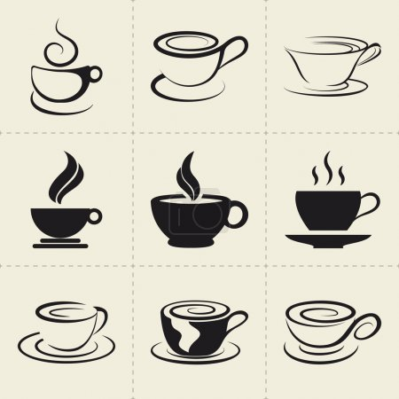 Coffee icons set, also as emblem, such a logo