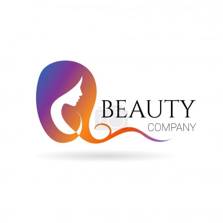 Illustration for Beauty company logo with female face on white background. Vector - Royalty Free Image