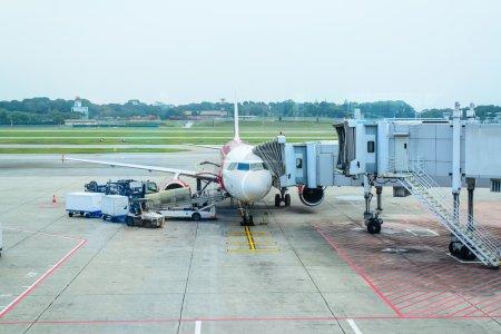 Jet bridge from an airport terminal gate