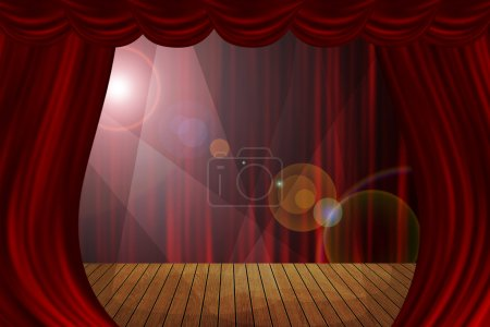 Theater stage red curtains show spotlight background