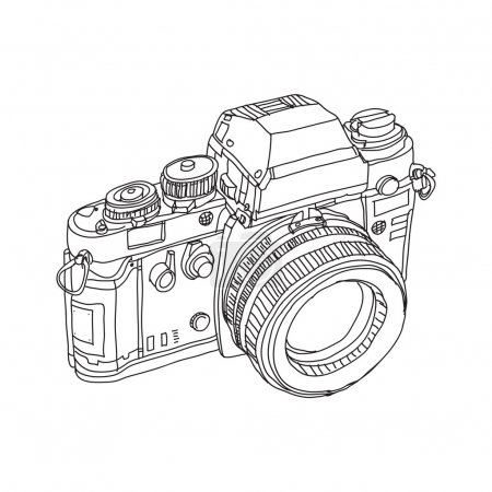vintage old photo camera drawn vector illustration