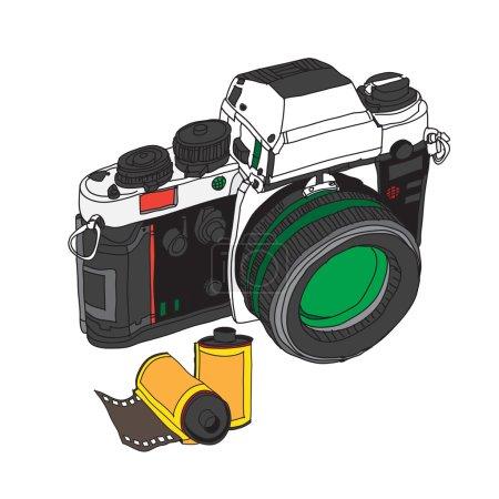 vintage old photo camera drawn vector illustration