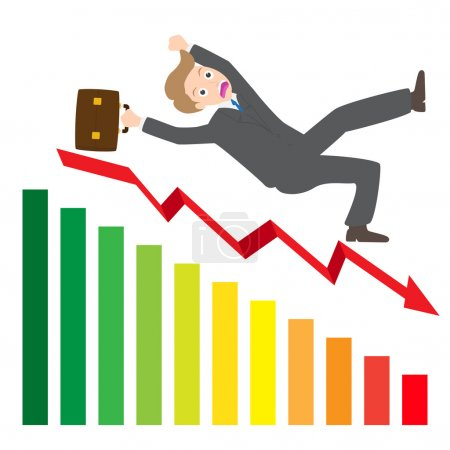Illustration of a businessman Slipping Down a statistic arrow vector