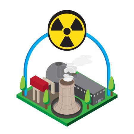 Isométrique des centrales nucléaires, vecteur, illustration