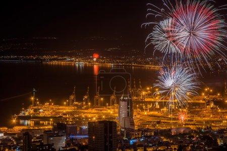 Photo pour Feux d'artifice célébrant la fête de l'indépendance d'Israël - image libre de droit