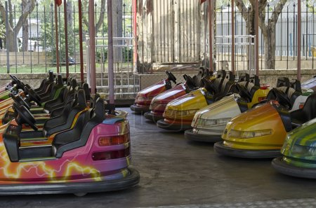 View of bumper cars