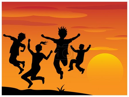 Illustration for Playing children silhouette on sun raising background - Royalty Free Image
