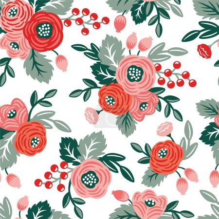 Photo for Floral seamless pattern on a white background. For wallpaper, fabrics, decorations, prints, designs - Royalty Free Image
