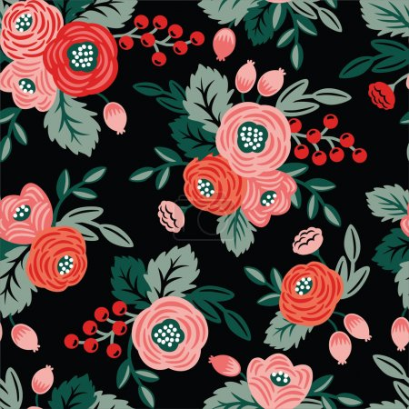 Photo for Floral seamless pattern on a black background. For wallpaper, fabrics, decorations, prints, designs - Royalty Free Image