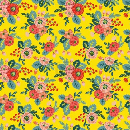 Photo for Floral seamless pattern on a yellow background. For wallpaper, fabrics, decorations, prints, designs - Royalty Free Image