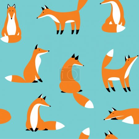 Photo for Seamless pattern with red foxes - Royalty Free Image