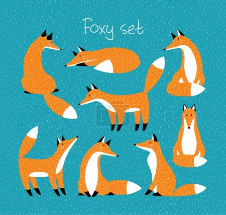 Photo for Set with cute red foxes - Royalty Free Image